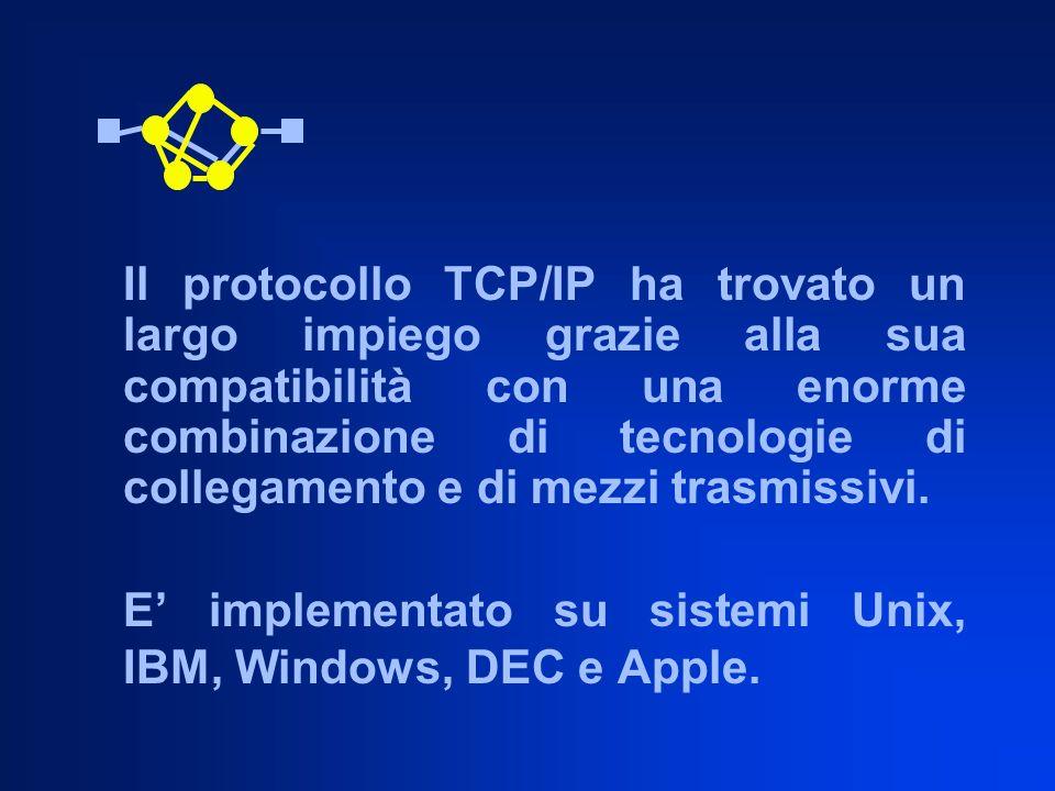Il protocollo TCP/IP ha trovato un largo impiego grazie alla sua compatibilità con una enorme combinazione di tecnologie di collegamento e di mezzi tr