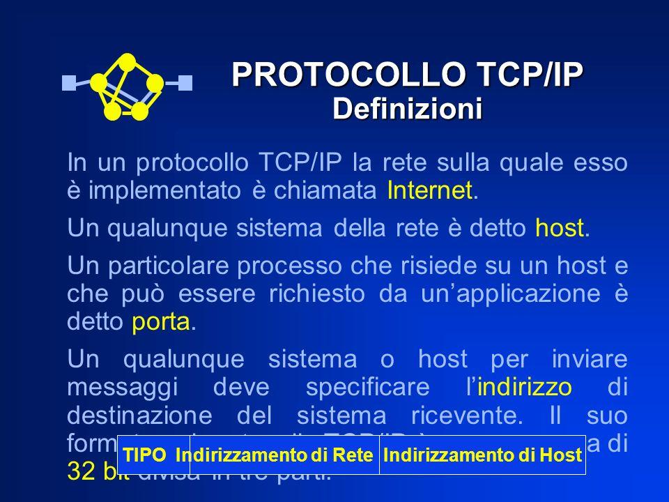PROTOCOLLO TCP/IP Definizioni In un protocollo TCP/IP la rete sulla quale esso è implementato è chiamata Internet. Un qualunque sistema della rete è d