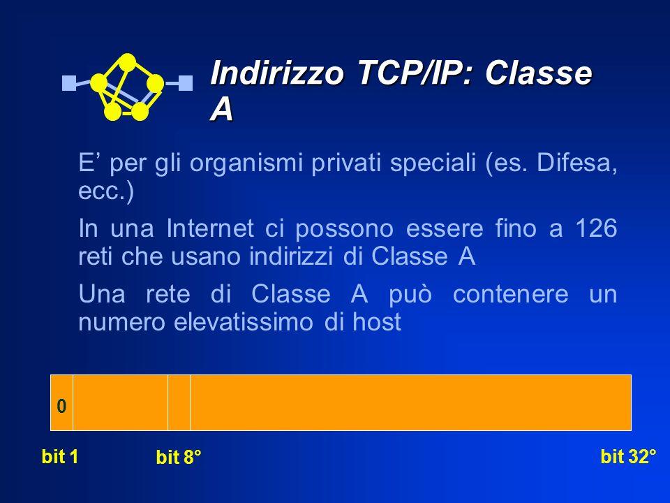 Indirizzo TCP/IP: Classe A E per gli organismi privati speciali (es. Difesa, ecc.) In una Internet ci possono essere fino a 126 reti che usano indiriz