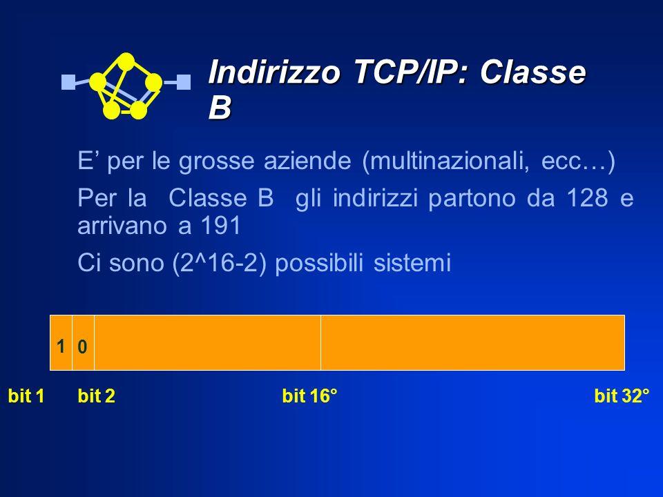 Indirizzo TCP/IP: Classe B E per le grosse aziende (multinazionali, ecc…) Per la Classe B gli indirizzi partono da 128 e arrivano a 191 Ci sono (2^16-