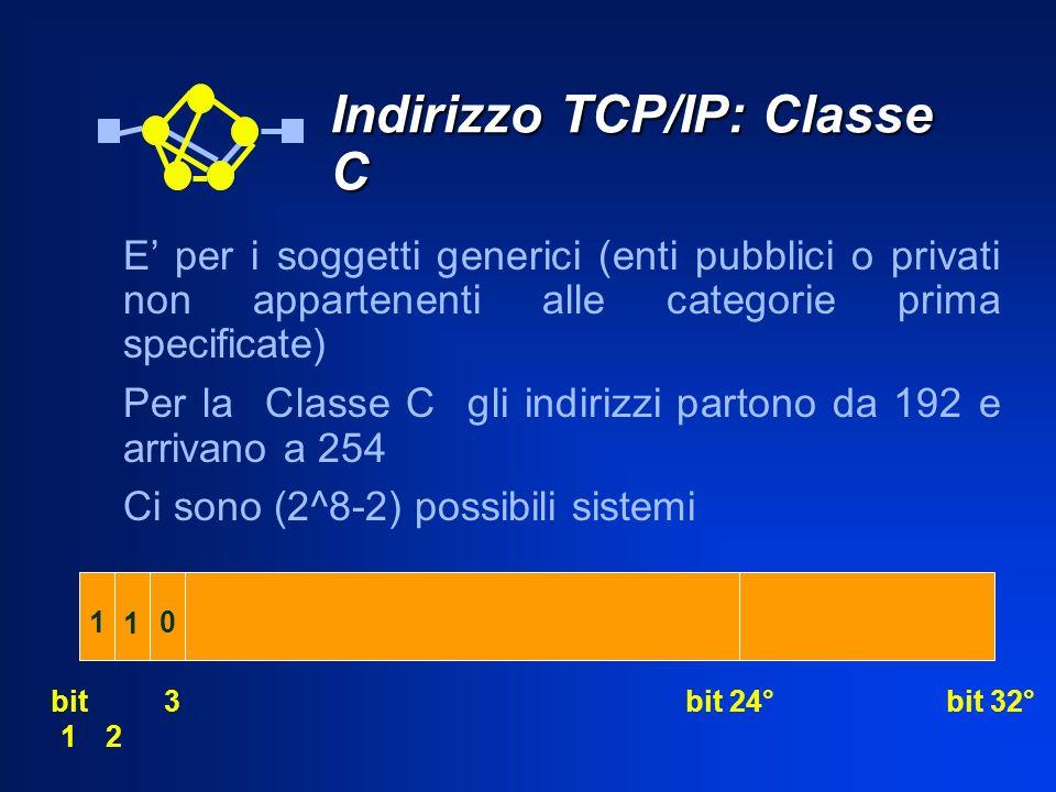 Indirizzo TCP/IP: Classe C E per i soggetti generici (enti pubblici o privati non appartenenti alle categorie prima specificate) Per la Classe C gli i