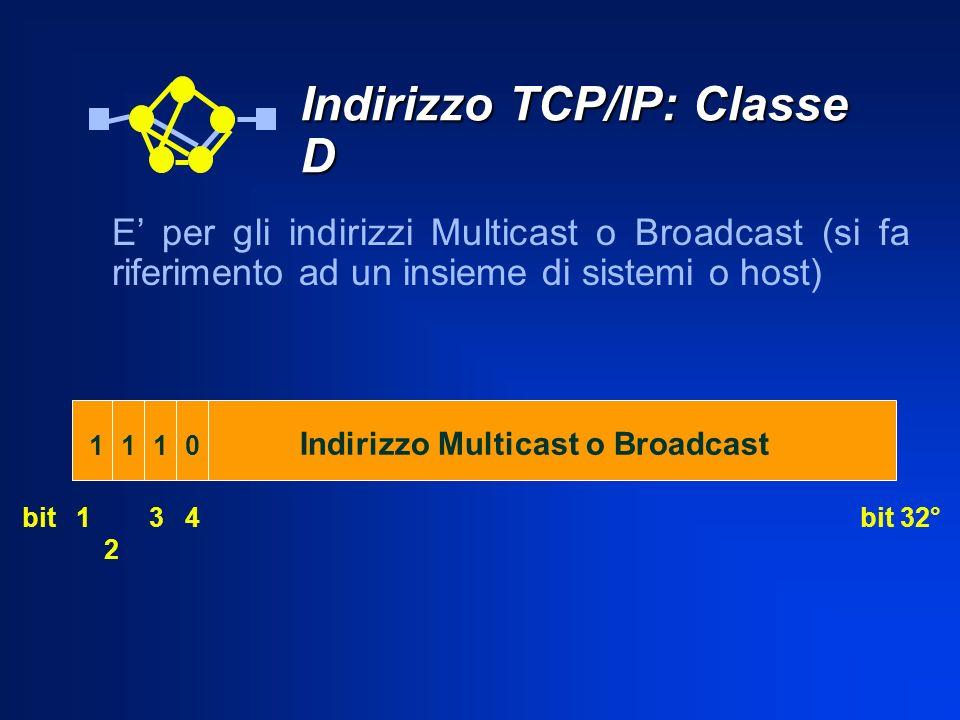 Indirizzo TCP/IP: Classe D E per gli indirizzi Multicast o Broadcast (si fa riferimento ad un insieme di sistemi o host) bit 32°bit 1 11 2 1 3 0 Indir