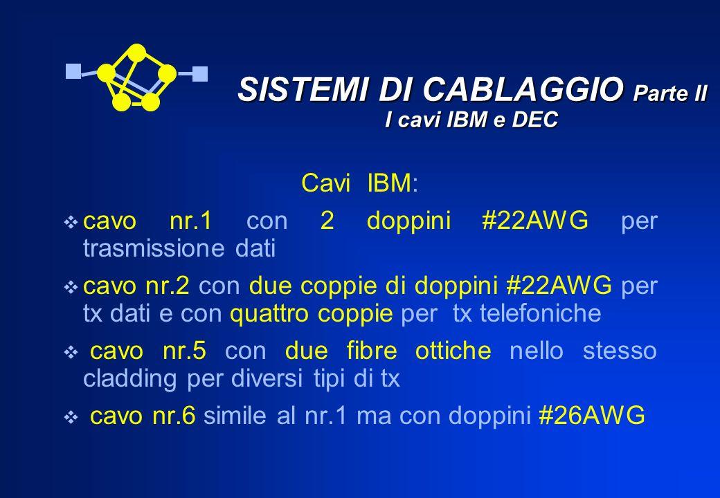 SISTEMI DI CABLAGGIO Parte II I cavi IBM e DEC Cavi IBM: cavo nr.1 con 2 doppini #22AWG per trasmissione dati cavo nr.2 con due coppie di doppini #22A