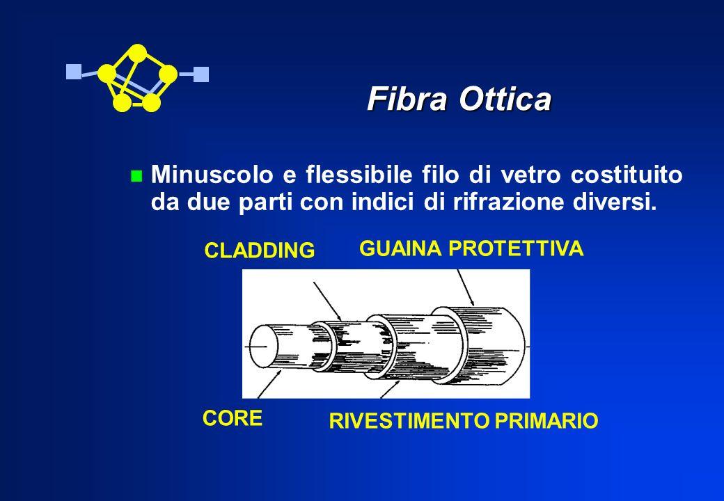 Fibra Ottica CORE CLADDING RIVESTIMENTO PRIMARIO GUAINA PROTETTIVA n Minuscolo e flessibile filo di vetro costituito da due parti con indici di rifraz