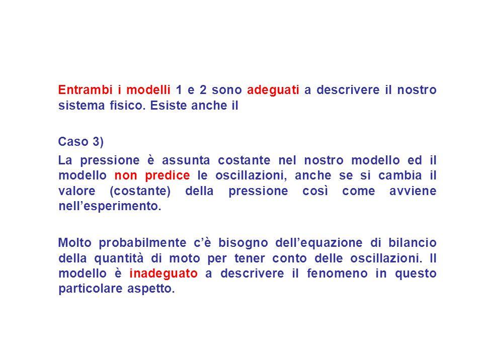 Entrambi i modelli 1 e 2 sono adeguati a descrivere il nostro sistema fisico.