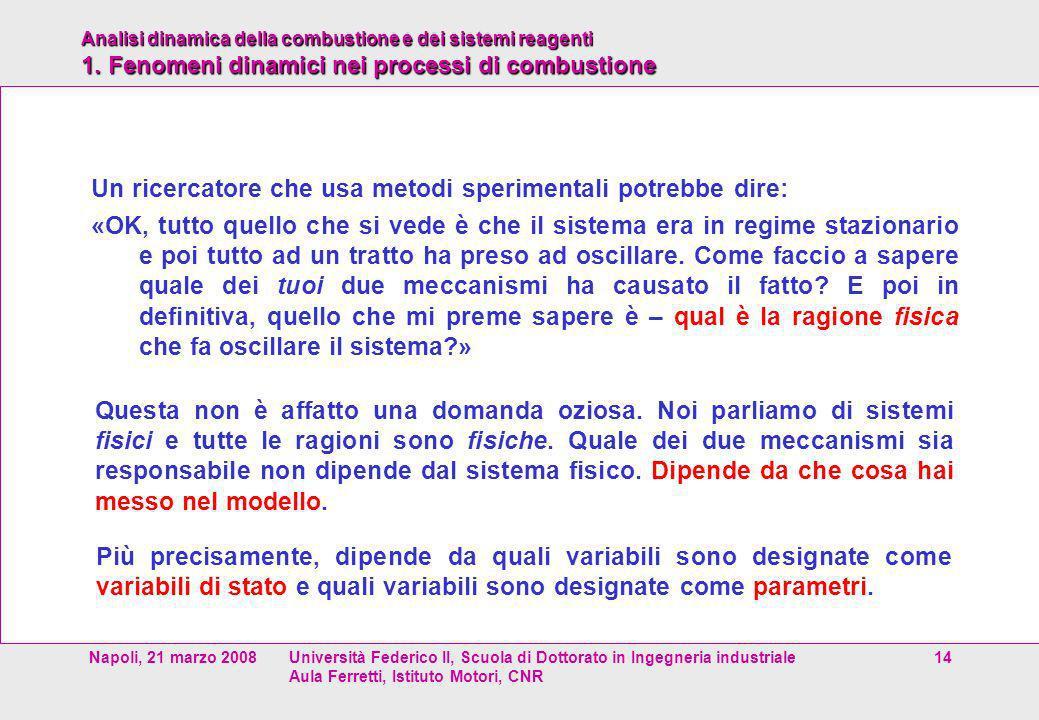 Analisi dinamica della combustione e dei sistemi reagenti 1. Fenomeni dinamici nei processi di combustione Napoli, 21 marzo 2008Università Federico II