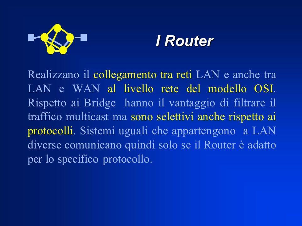 I Router Realizzano il collegamento tra reti LAN e anche tra LAN e WAN al livello rete del modello OSI. Rispetto ai Bridge hanno il vantaggio di filtr