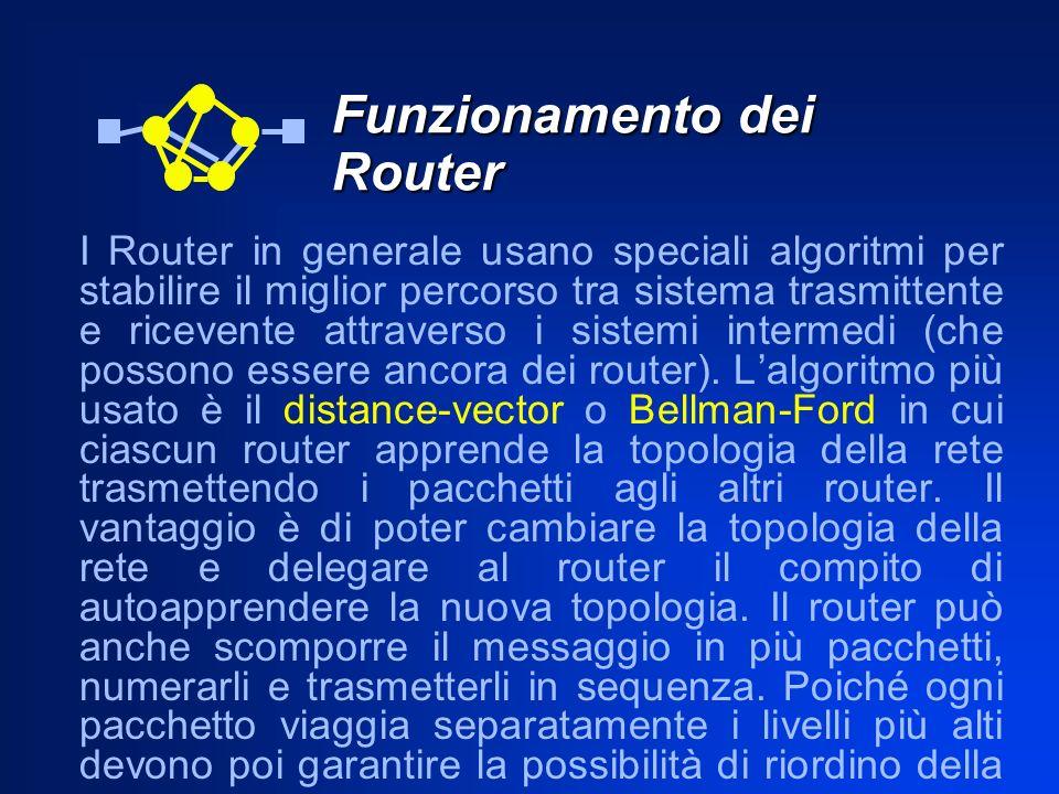 Funzionamento dei Router I Router in generale usano speciali algoritmi per stabilire il miglior percorso tra sistema trasmittente e ricevente attraver