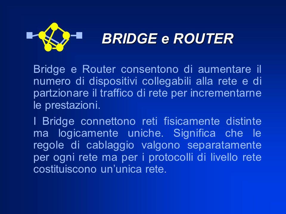 BRIDGE e ROUTER BRIDGE e ROUTER Bridge e Router consentono di aumentare il numero di dispositivi collegabili alla rete e di partzionare il traffico di
