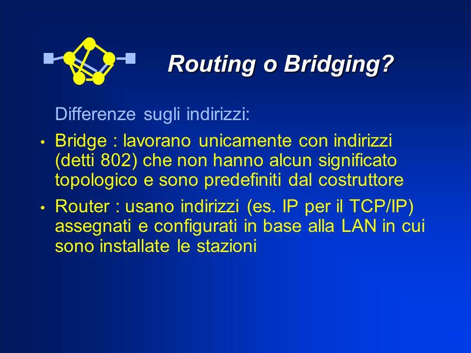Routing o Bridging? Routing o Bridging? Differenze sugli indirizzi: Bridge : lavorano unicamente con indirizzi (detti 802) che non hanno alcun signifi