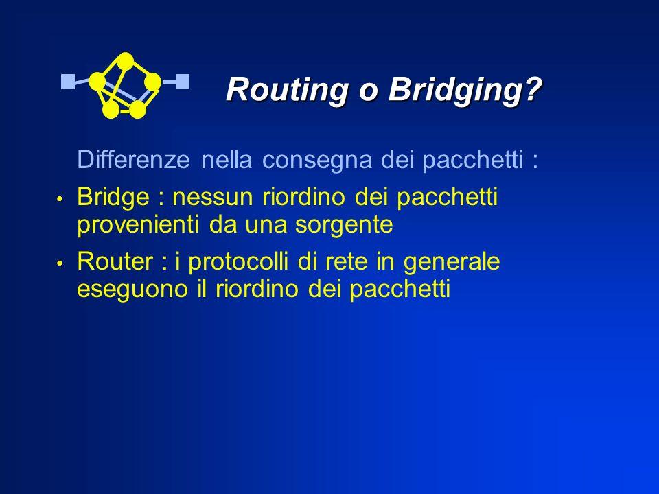 Routing o Bridging? Routing o Bridging? Differenze nella consegna dei pacchetti : Bridge : nessun riordino dei pacchetti provenienti da una sorgente R