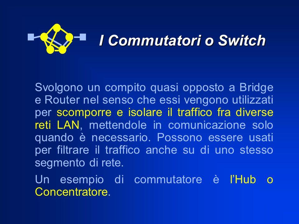 I Commutatori o Switch Svolgono un compito quasi opposto a Bridge e Router nel senso che essi vengono utilizzati per scomporre e isolare il traffico f