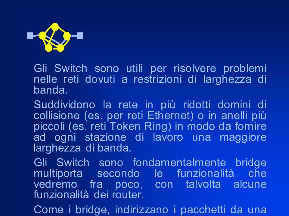 Gli Switch sono utili per risolvere problemi nelle reti dovuti a restrizioni di larghezza di banda. Suddividono la rete in più ridotti domini di colli