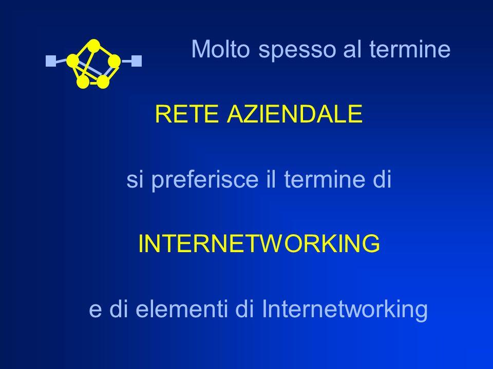 Molto spesso al termine RETE AZIENDALE si preferisce il termine di INTERNETWORKING e di elementi di Internetworking