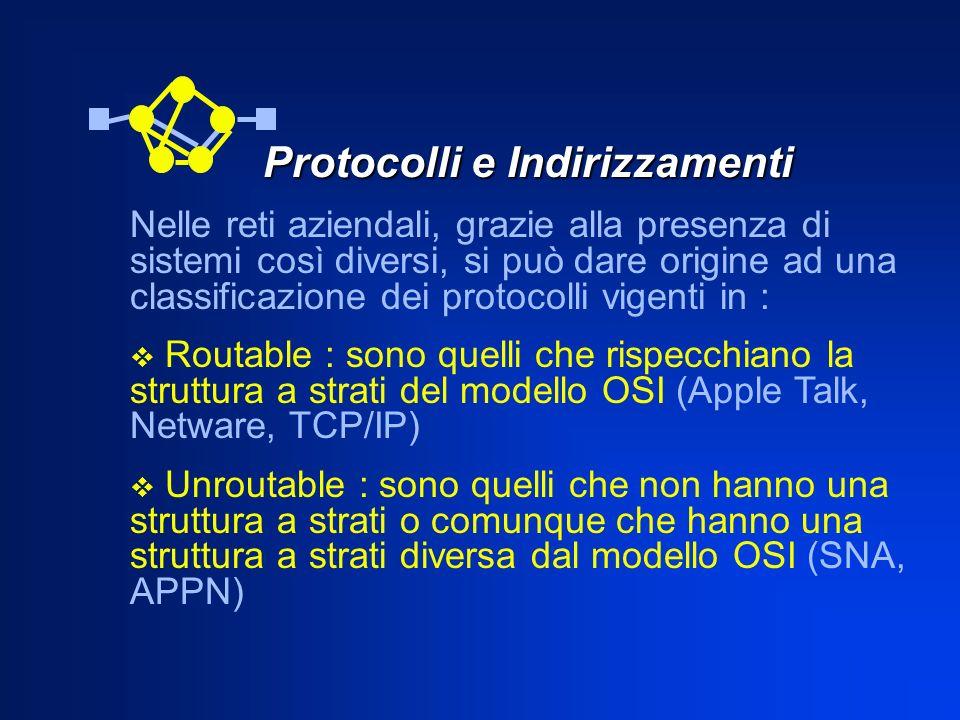 Protocolli e Indirizzamenti Nelle reti aziendali, grazie alla presenza di sistemi così diversi, si può dare origine ad una classificazione dei protoco