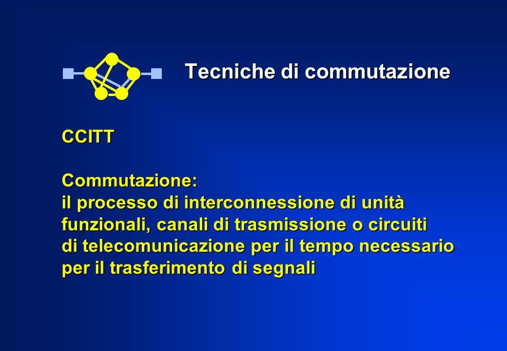 Tecniche di commutazione Tecniche di commutazione CCITTCommutazione: il processo di interconnessione di unità funzionali, canali di trasmissione o cir
