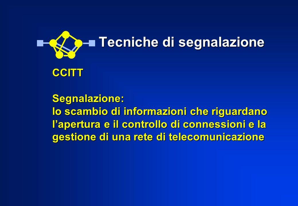 Tecniche di segnalazione Tecniche di segnalazione CCITTSegnalazione: lo scambio di informazioni che riguardano lapertura e il controllo di connessioni