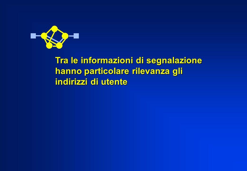 Tra le informazioni di segnalazione hanno particolare rilevanza gli indirizzi di utente