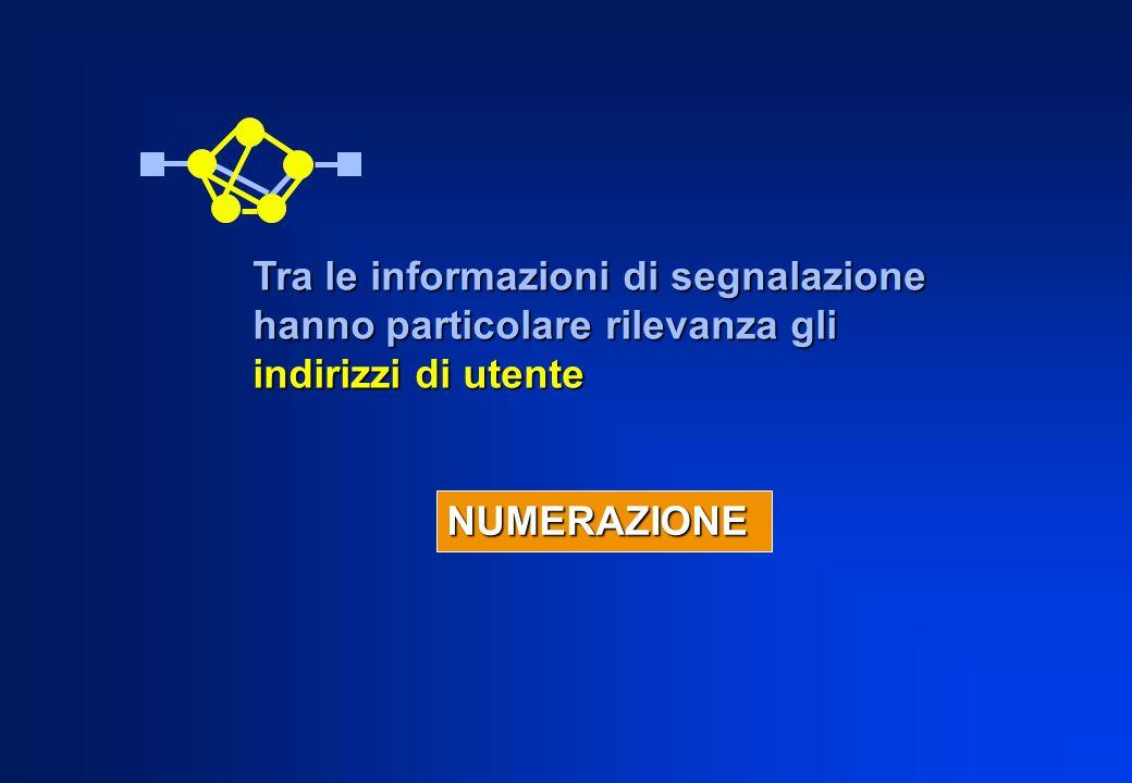 Tra le informazioni di segnalazione hanno particolare rilevanza gli indirizzi di utente NUMERAZIONE