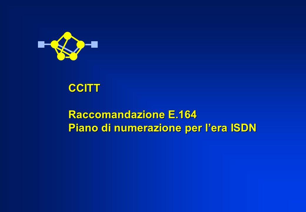 CCITT Raccomandazione E.164 Piano di numerazione per lera ISDN