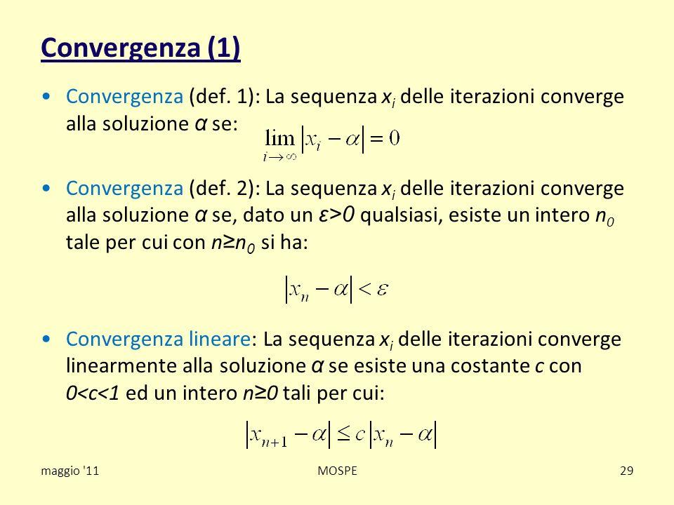 Convergenza (1) Convergenza (def. 1): La sequenza x i delle iterazioni converge alla soluzione α se: Convergenza (def. 2): La sequenza x i delle itera