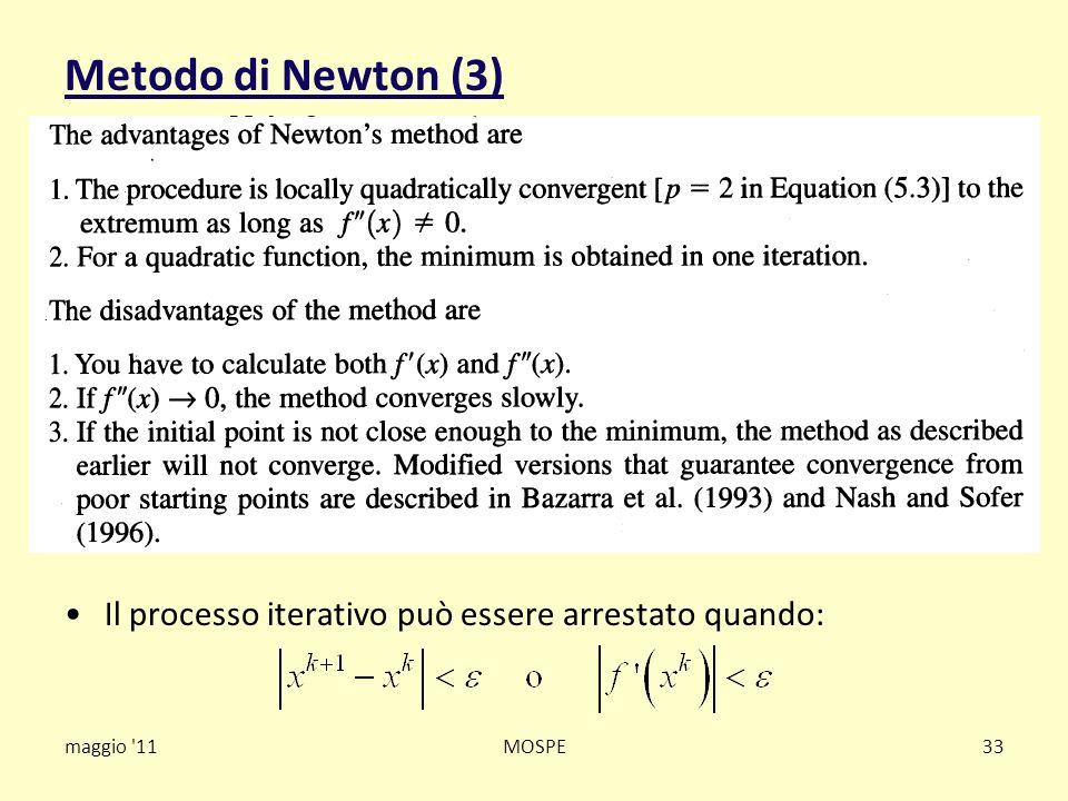 Metodo di Newton (3) maggio '11MOSPE33 Il processo iterativo può essere arrestato quando: