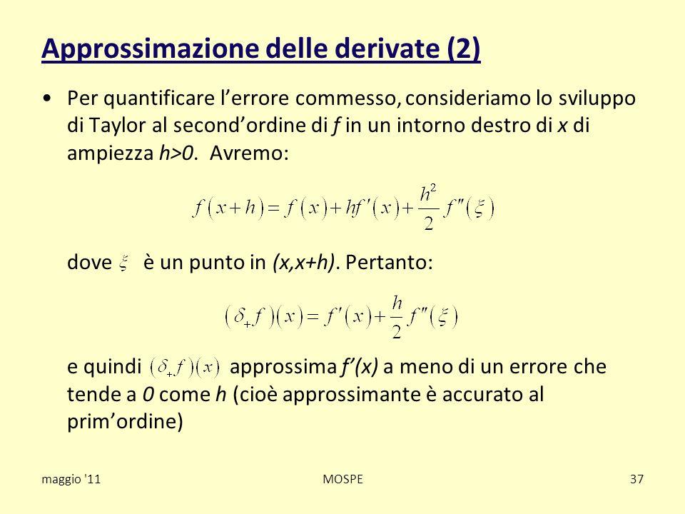 Approssimazione delle derivate (2) Per quantificare lerrore commesso, consideriamo lo sviluppo di Taylor al secondordine di f in un intorno destro di