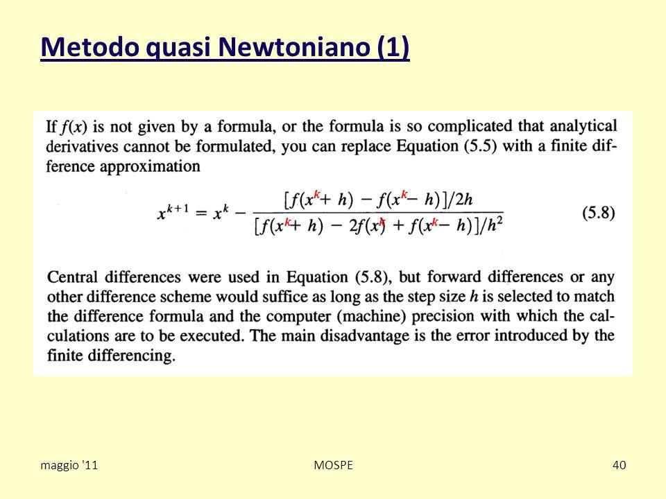 Metodo quasi Newtoniano (1) maggio '11MOSPE40 k k kkk