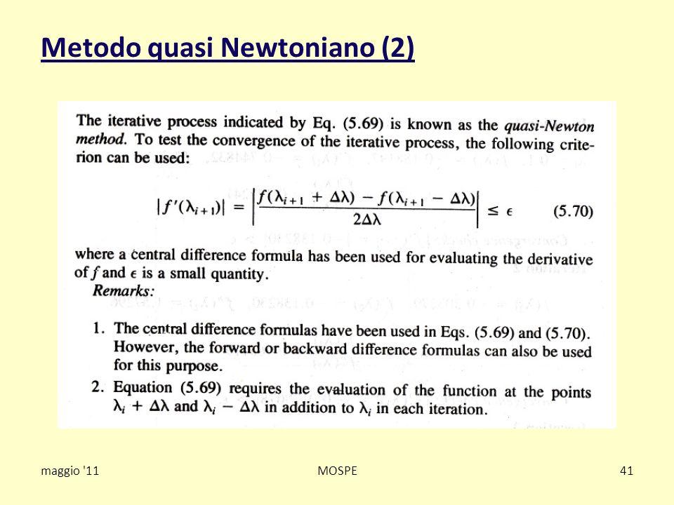 Metodo quasi Newtoniano (2) maggio '11MOSPE41