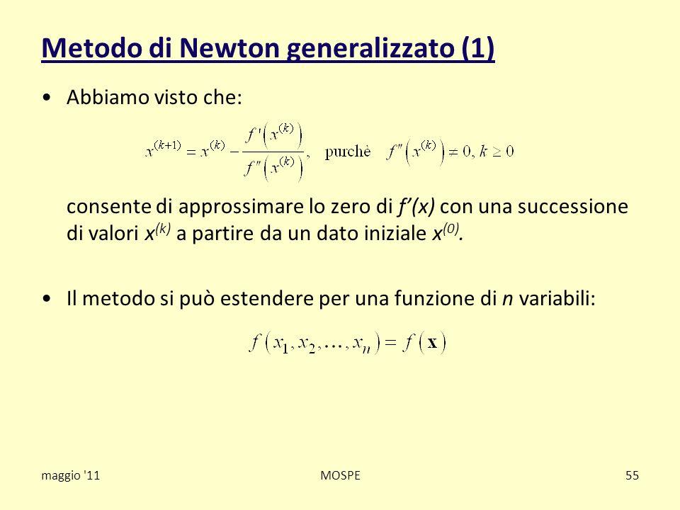 Metodo di Newton generalizzato (1) Abbiamo visto che: consente di approssimare lo zero di f(x) con una successione di valori x (k) a partire da un dat