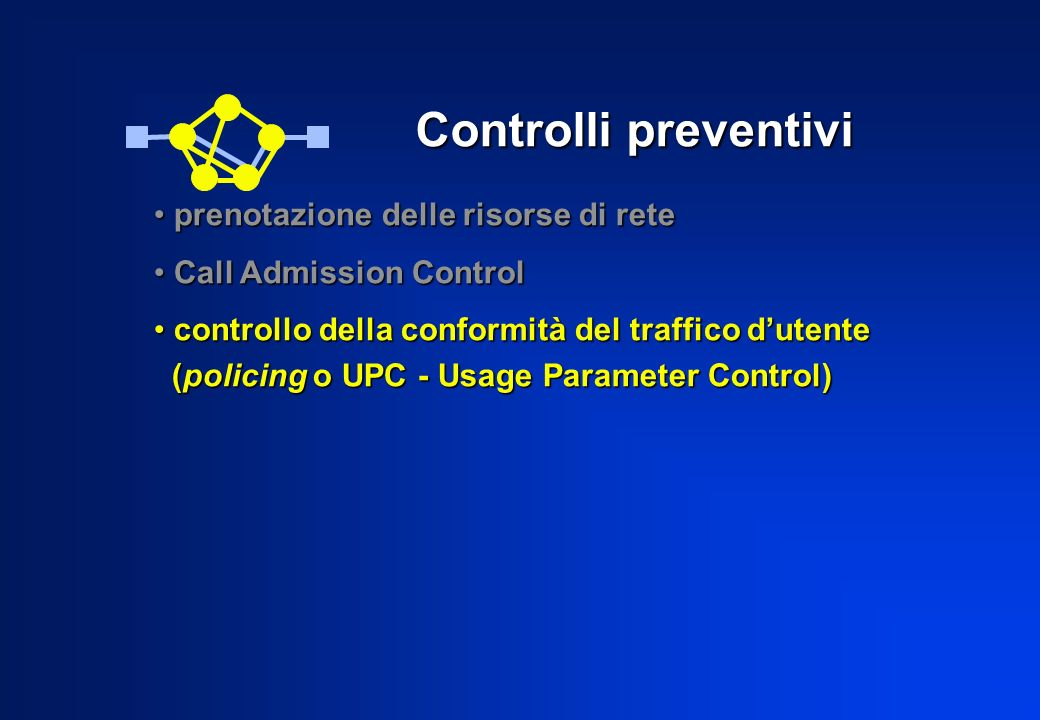 Controlli preventivi prenotazione delle risorse di rete prenotazione delle risorse di rete Call Admission Control Call Admission Control controllo della conformità del traffico dutente controllo della conformità del traffico dutente (policing o UPC - Usage Parameter Control) (policing o UPC - Usage Parameter Control)