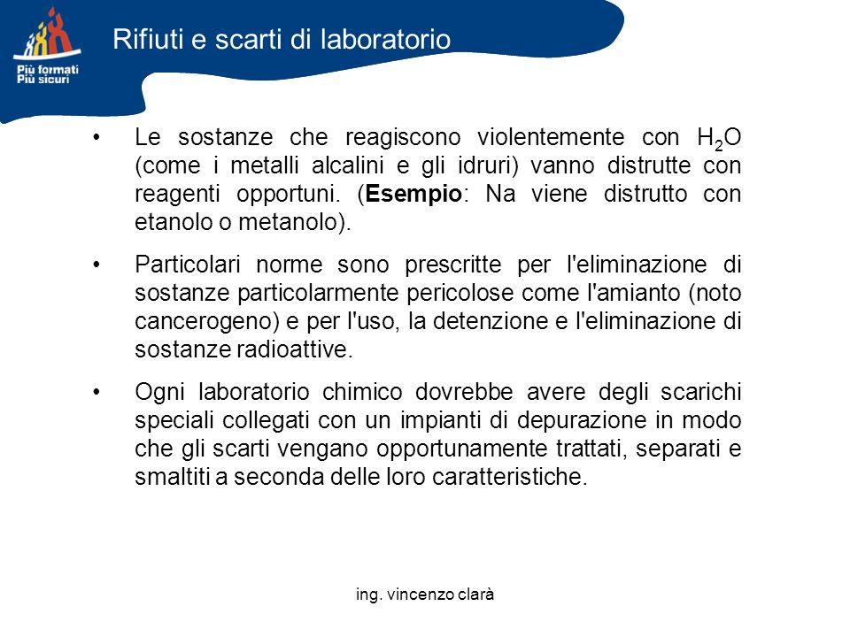 ing. vincenzo clarà Le sostanze che reagiscono violentemente con H 2 O (come i metalli alcalini e gli idruri) vanno distrutte con reagenti opportuni.