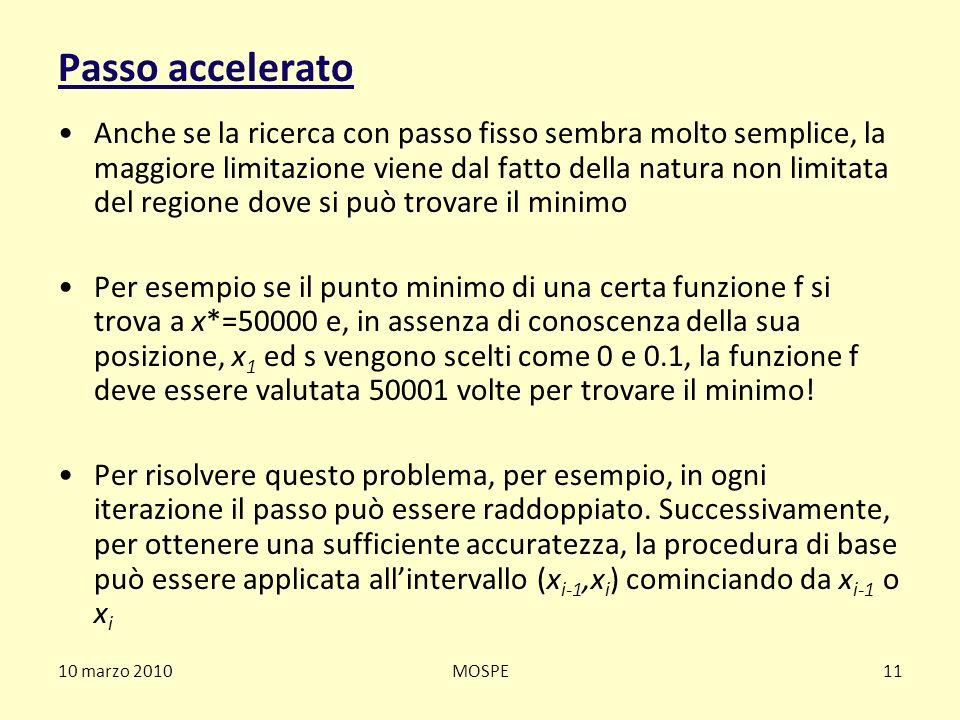 10 marzo 2010MOSPE11 Passo accelerato Anche se la ricerca con passo fisso sembra molto semplice, la maggiore limitazione viene dal fatto della natura