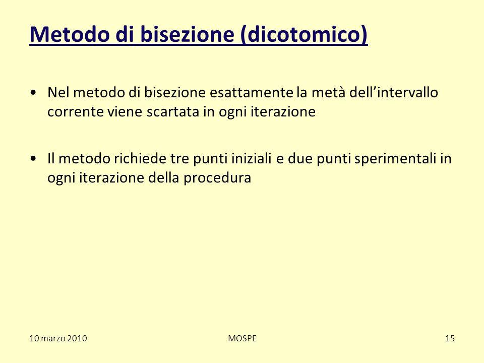10 marzo 2010MOSPE15 Metodo di bisezione (dicotomico) Nel metodo di bisezione esattamente la metà dellintervallo corrente viene scartata in ogni itera