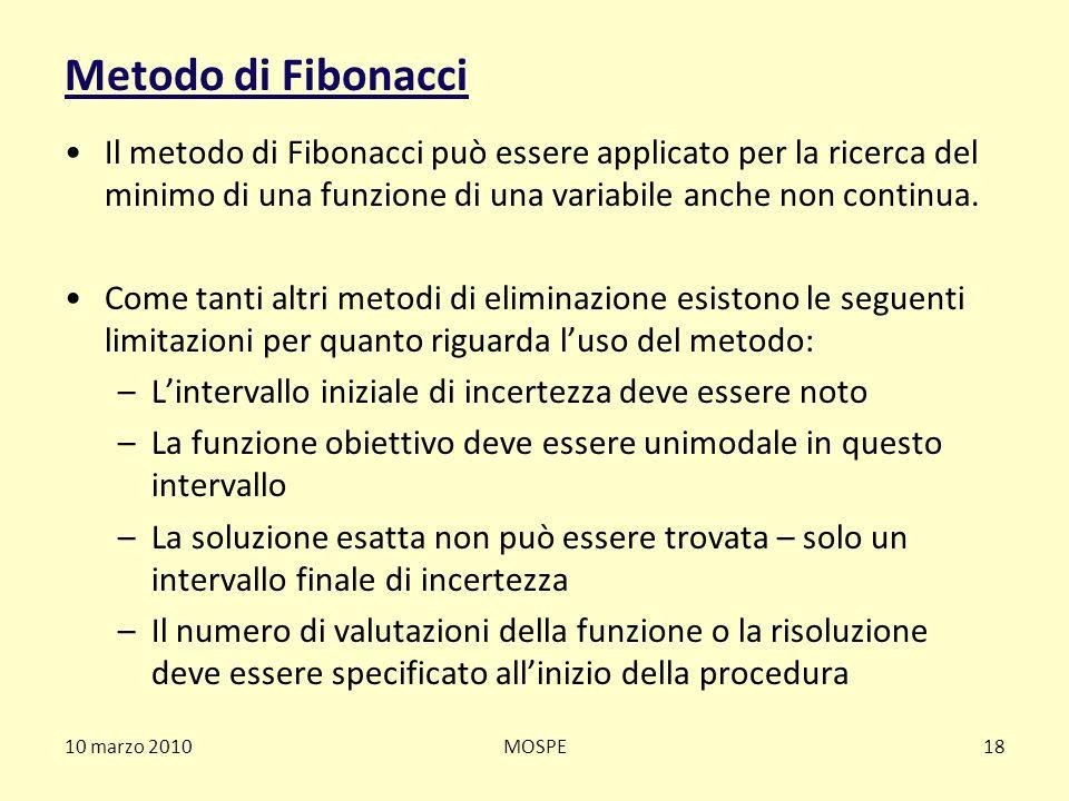 10 marzo 2010MOSPE18 Metodo di Fibonacci Il metodo di Fibonacci può essere applicato per la ricerca del minimo di una funzione di una variabile anche