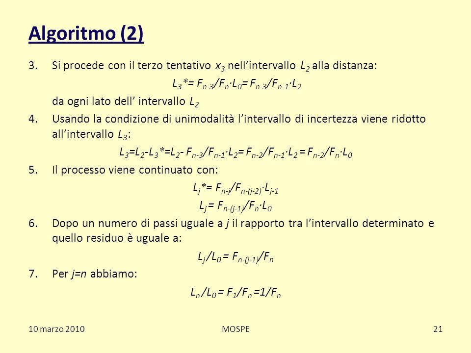 10 marzo 2010MOSPE21 Algoritmo (2) 3.Si procede con il terzo tentativo x 3 nellintervallo L 2 alla distanza: L 3 *= F n-3 /F n ·L 0 = F n-3 /F n-1 ·L