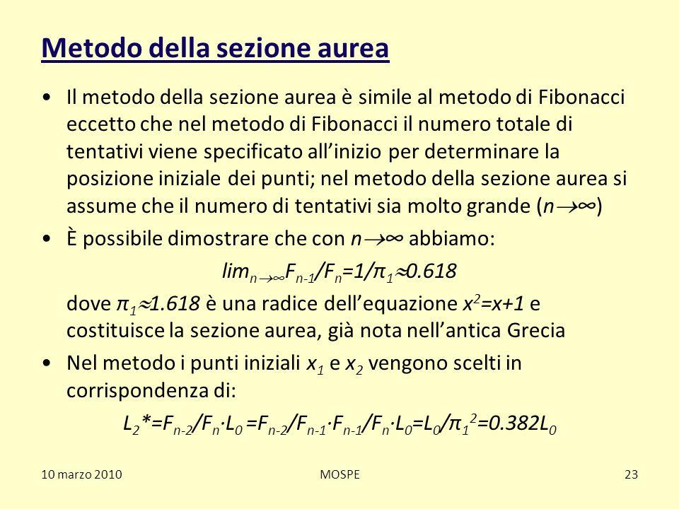10 marzo 2010MOSPE23 Metodo della sezione aurea Il metodo della sezione aurea è simile al metodo di Fibonacci eccetto che nel metodo di Fibonacci il n