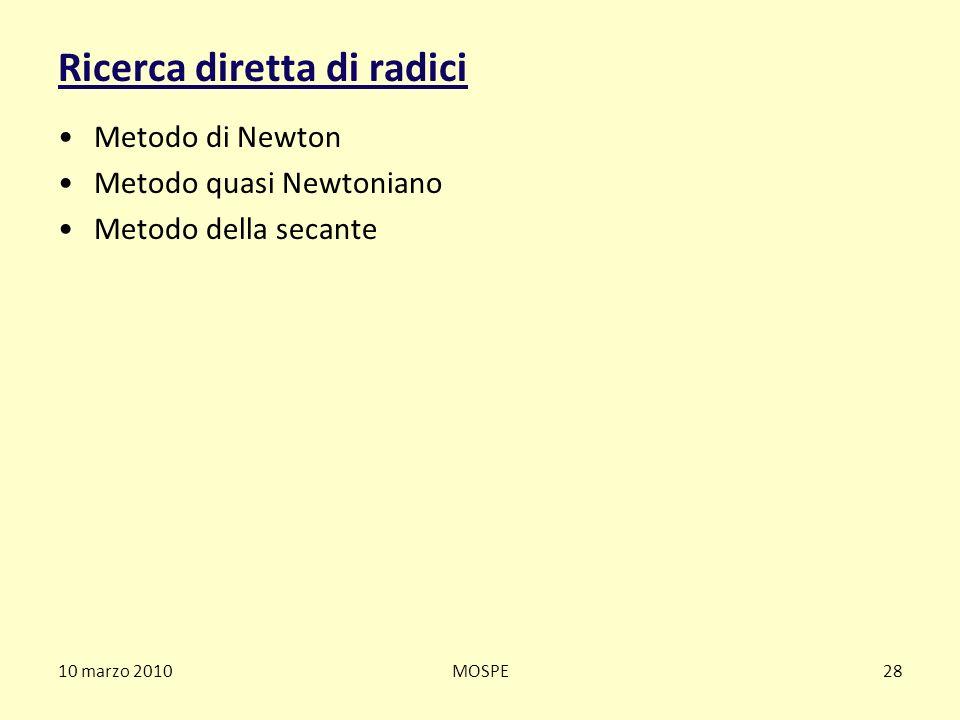10 marzo 2010MOSPE28 Ricerca diretta di radici Metodo di Newton Metodo quasi Newtoniano Metodo della secante