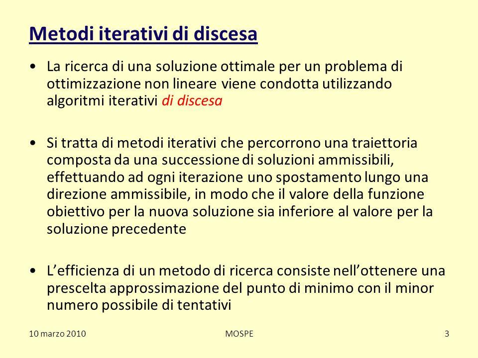 10 marzo 2010MOSPE3 Metodi iterativi di discesa La ricerca di una soluzione ottimale per un problema di ottimizzazione non lineare viene condotta util