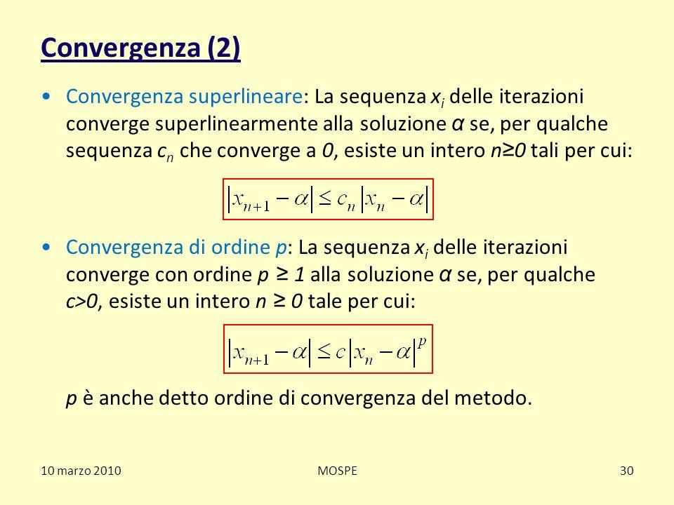 Convergenza (2) Convergenza superlineare: La sequenza x i delle iterazioni converge superlinearmente alla soluzione α se, per qualche sequenza c n che