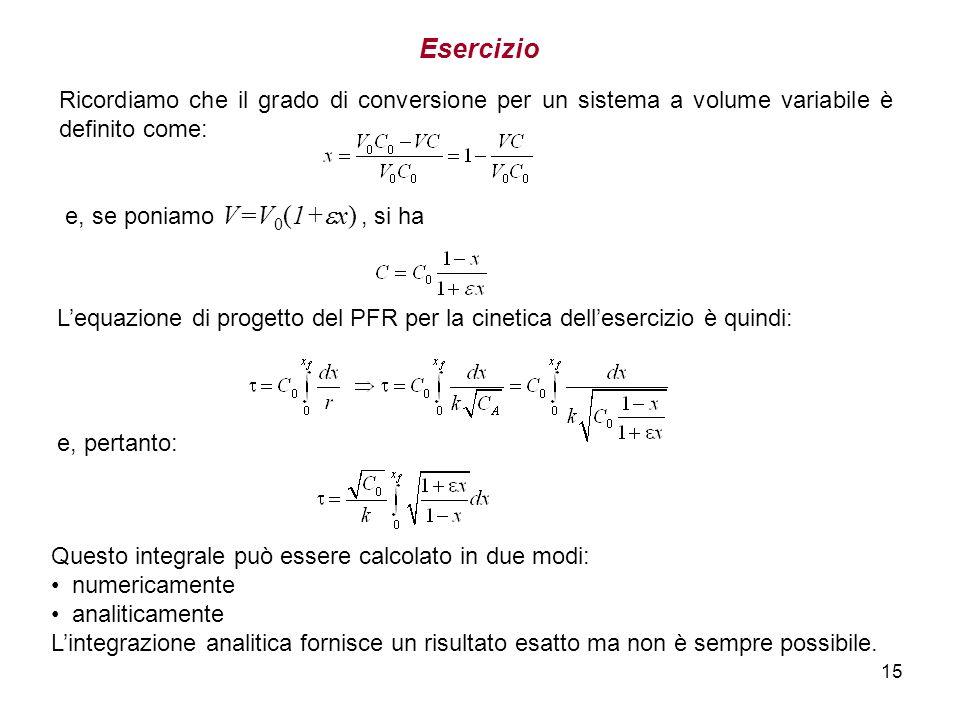 15 Esercizio Lequazione di progetto del PFR per la cinetica dellesercizio è quindi: e, pertanto: Questo integrale può essere calcolato in due modi: nu