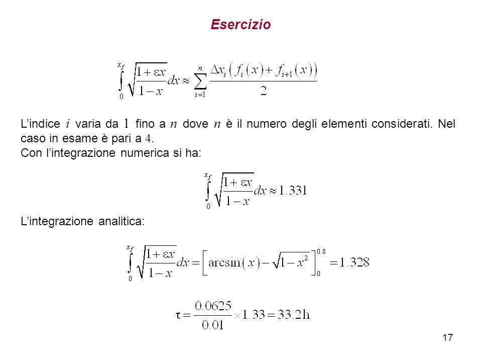 17 Esercizio Lindice i varia da 1 fino a n dove n è il numero degli elementi considerati. Nel caso in esame è pari a 4. Con lintegrazione numerica si