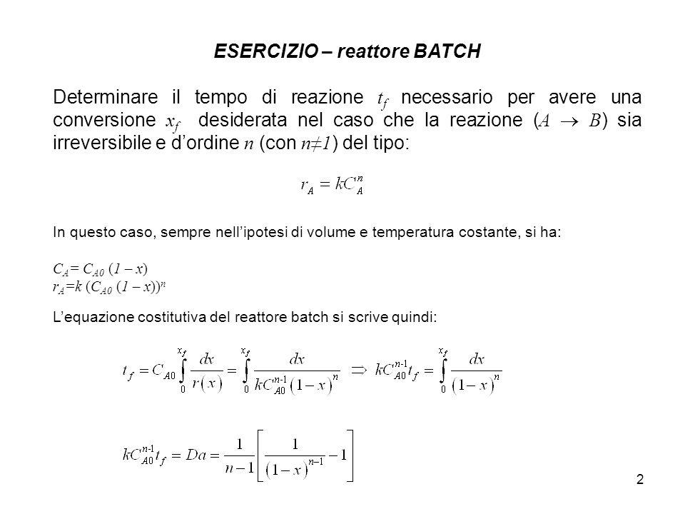 3 ESERCIZIO – CSTR stazionario Scegliere quale tra le tre configurazioni reattoristiche è la più conveniente: 1) V=50 litri, Q=2.5 litri/hr, k=5.5hr -1 2) V=1 litri, Q=2.5 litri/hr, k=5.5hr -1 3) V=5 litri, Q=150 litri/hr, k=5.5hr -1 In tutti e tre i casi proposti impiegare una cinetica del primo ordine (kC).