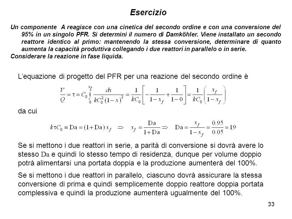 33 Esercizio Un componente A reagisce con una cinetica del secondo ordine e con una conversione del 95% in un singolo PFR. Si determini il numero di D