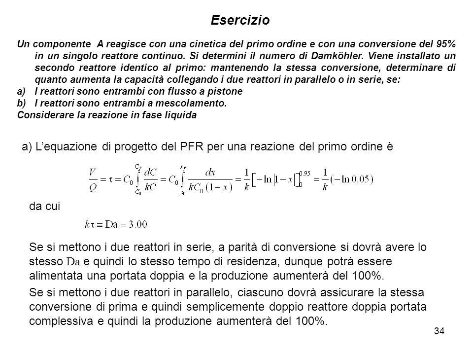 34 Esercizio Un componente A reagisce con una cinetica del primo ordine e con una conversione del 95% in un singolo reattore continuo. Si determini il