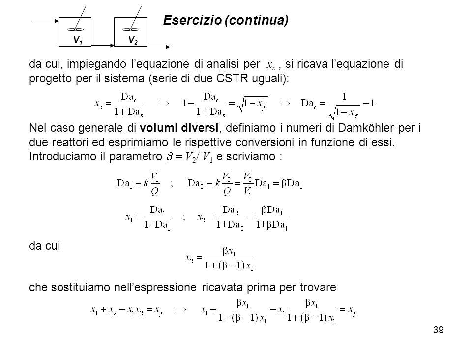 Esercizio (continua) 39 che sostituiamo nellespressione ricavata prima per trovare Nel caso generale di volumi diversi, definiamo i numeri di Damköhle