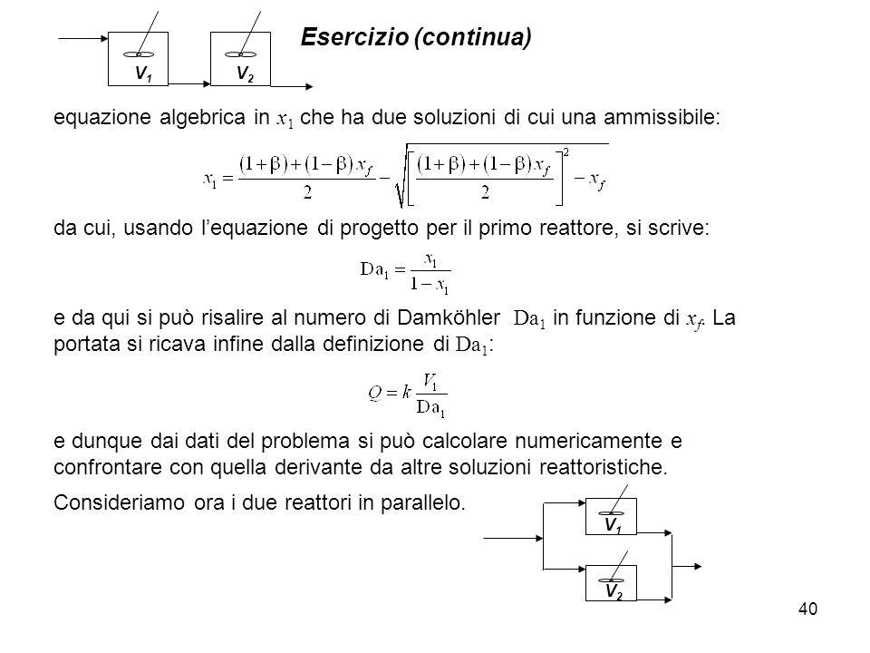 Esercizio (continua) 40 e dunque dai dati del problema si può calcolare numericamente e confrontare con quella derivante da altre soluzioni reattorist