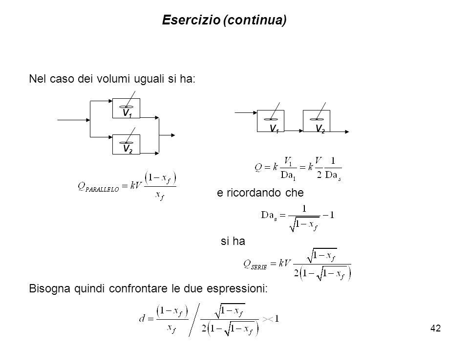 Esercizio (continua) 42 si ha Nel caso dei volumi uguali si ha: V2V2 V1V1 e ricordando che V1V1 V2V2 Bisogna quindi confrontare le due espressioni: