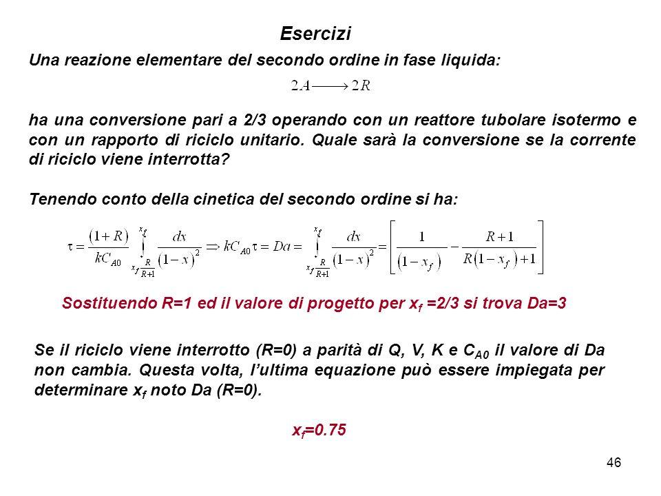 46 Esercizi Una reazione elementare del secondo ordine in fase liquida: ha una conversione pari a 2/3 operando con un reattore tubolare isotermo e con
