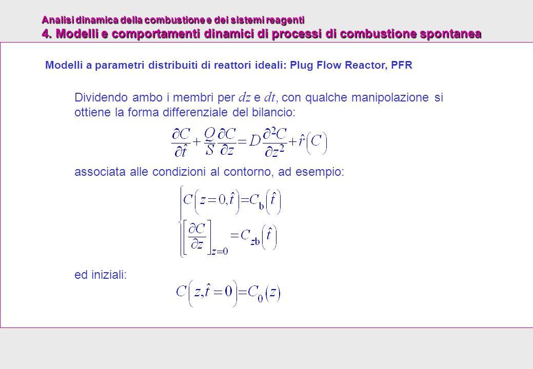 Analisi dinamica della combustione e dei sistemi reagenti 4. Modelli e comportamenti dinamici di processi di combustione spontanea Dividendo ambo i me